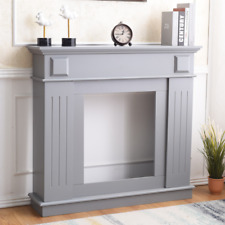 Mobili Rebecca Fireplace Fire Sorround Wood Light Grey Bedroom 100x109x26