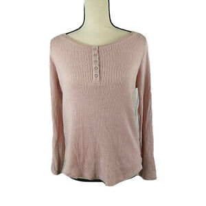 Hippie Rose Juniors M Pink Long Sleeve Round Neck Henley Ribbed Top