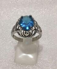 Sparkling Sterling Silver Ring Huge Aqua CZ Stone Size 8.5 Never Worn Stamped925