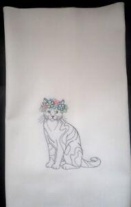 Cat embroidered on cotton tea towel/dishcloth