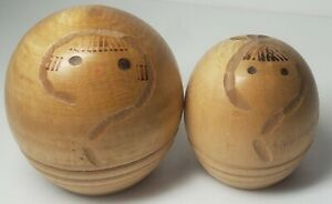 Vintage Kokeshi Doll Pair By Murakami Kenichi - Parent Child Carved Wood Signed