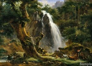 Waterfall at Mont-Dore, Achille-Etna Michallon Poster Art Print Picture A3 A4