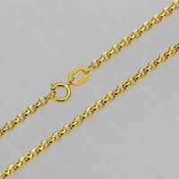 FINE 23.6 INCH Solid 18K Yellow Gold Necklace 2mm Rolo Link Chain Necklace Au750