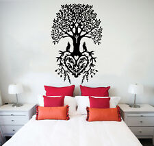 Wall Decal Tree Roots Heart Flowers Wolf Vinyl Sticker Decals Home Decor NS829