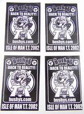 4 x Isle Of Man TT Motorcycle Racing - Bushy's Ale 2002 Beer Tent Stickers - IOM