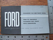 Original 1959 59 Ford Dealers Salesman Ford VS Chevrolet Price Comparison