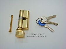 EURO SPEC UPVC DOOR LOCK OVAL THUMB TURN EURO CYLINDER 35/35 POLISHED BRASS