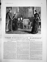 Antique Old Print That Unfortunate Marriage Mrs Dormer Smith Owen May 1888 19th