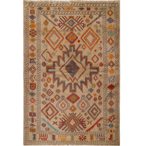 """10888# Fine Hand Knotted Afghan Carpet 6'8"""" x 9'9"""" Traditional Wool Large Rug"""