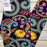 PLUS Bright Floral Paisley Leggings Buttery Soft Curvy 10-18 TC