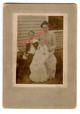 1902 Cabinet Photo of Edith N. Galloupe and Children, Woolwich, Maine