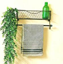 Kitchen Wire Metal Shelf Towel Rail Unit Wall Mounted Rack Industrial Storage
