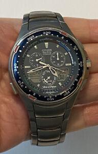 CITIZEN STARS & STRIPES Titanium ECO-DRIVE Yacht Men's Watch Titanium Bracelet