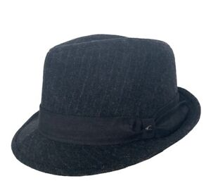 Stetson Fedora Hat vtg Wool Black Silver Gray Small to Medium Fitted American US