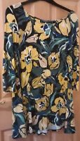 Marks and Spencer Women's Tunic Top Black Floral M&S Collection Size 14