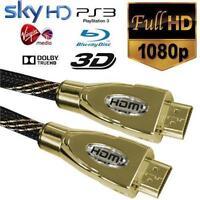 Premium 1M 5M 10M HDMI Braided Cable v1.4 Gold HDTV UltraHD 2160p 4K 3D Ethernet
