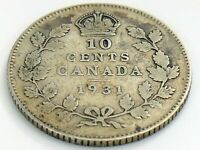 1931 Canada Ten 10 Cents Silver Dime Canadian Circulated George V Coin J964