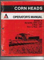Original Allis Chalmers Operators Manual for Model N Corn Heads S/N 5001 and Up