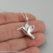Hummingbird Charm Necklace - 925 Sterling Silver - NEW Bird Fly Wings Pendant 3D