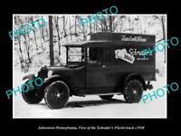 OLD LARGE HISTORIC PHOTO OF JOHNSTOWN PENNSYLVANIA, SCHRADER FLORIST TRUCK c1930