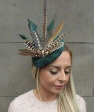 Large Bottle Dark Green Pheasant Feather Hat Fascinator Headband Races 5303