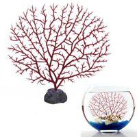 SODIAL(R) Aquarium artificielle corail rouge sous l'eau plantes Ornament De K5G1