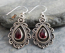 925 Silver Red GARNET Earrings E409~Silverwave*uk Jewellery