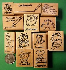 Teacher's French Only 12-piece Rubber Stamp Asst., Wood Mounted