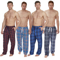 Men's Woven Lounge Bed Pants Pyjama Bottoms Checked Trousers Twill PJ S-XXL