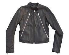 Maison Margiela Brown Burgundy Leather 5 Zip Biker Jacket Size 42 US6 UK10