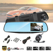4.3'' HD 1080P Car DVR Dual Lens Dash Cam Video Camera Recorder Rear View Mirror