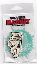 """ILLINOIS  """" LAND OF LINCOLN""""   IL STATE  OUTLINE MAP MAGNET in Souvenir Bag, NEW"""