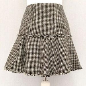 Per Una 100% WOOL Skirt 10 Houndstooth A Line Black Beige Short Fringe RaRa Mini