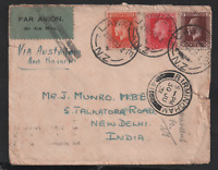 New Zealand 1931 Airmail KGV Cover via Australia to India Missent to UK WS22056