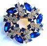 Lovely 3D PIN WHEEL Flower Wreath RHINESTONE Vintage Inspired Royal Blue Brooch