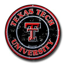 "TEXAS TECH RED RAIDERS ROUND METAL SIGN 12"" UNIVERSITY EMBOSSED MAN CAVE FAN"