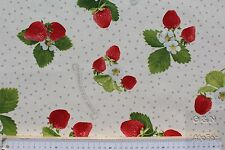 Dekostoff bedruckt, Otto, B&B Fabrics, Erdbeeren / Punkte, weiß/rot, 140 cm