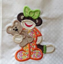 12 Handmade Applique/Embroidered Sock Monkey Babies Quilt Blocks/Squares