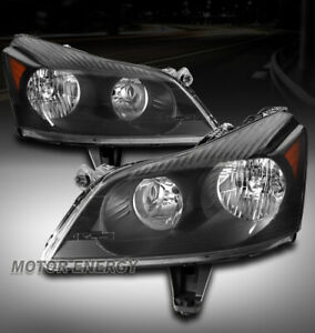 FOR 09-12 CHEVY TRAVERSE LS LT HALOGEN HEADLIGHT LAMP BLACK LEFT+RIGHT PAIR SET