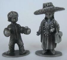 "2 Vintage Hudson Pewter Figurines #658 Boxing Boy #675 Playing Dress-Up Girl 2"""