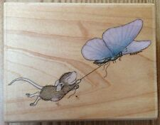 House Mouse Butterfly Express Rubber Stamp HMJR1017 Stampabilities