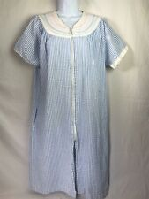"""Embroidered /""""Made in USA/"""" Seersucker Housecoat Robe Zipper Duster"""