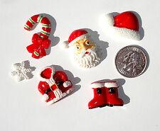 Christmas Red & White Santa Mix Resin Flatbacks bows embellishment scrapbooking
