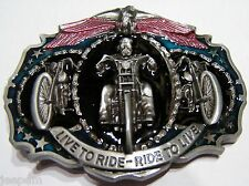 Live To Ride Ride to Live Motero 3 MOTOS Eagle Cinturón Hebilla Para Cinturón