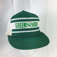 Vintage Tulane University Green Wave Trucker Hat Cap Snapback Rope Brim Mesh