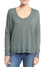 Madewell Womens Green Southstar Pullover Sz M Scoop Neck Hi Low Wool Blend