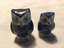Vintage Miniature Ceramic Owls White and Blue Figurine