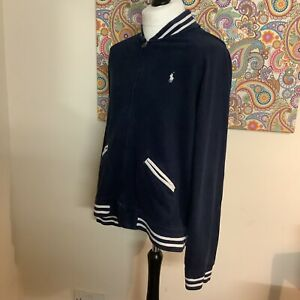 MENS VINTAGE  POLO RALPH LAUREN NAVY SWEAT TRACK JACKET  SIZE  EXTRA LARGE XL