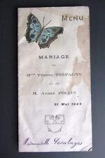 Menù originale MARIAGE NOZZE 1928 in francese FARFALLA