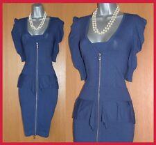 KAREN MILLEN Blue Thin Knitted Short Sleeves Front Zip Casual Work Dress UK10